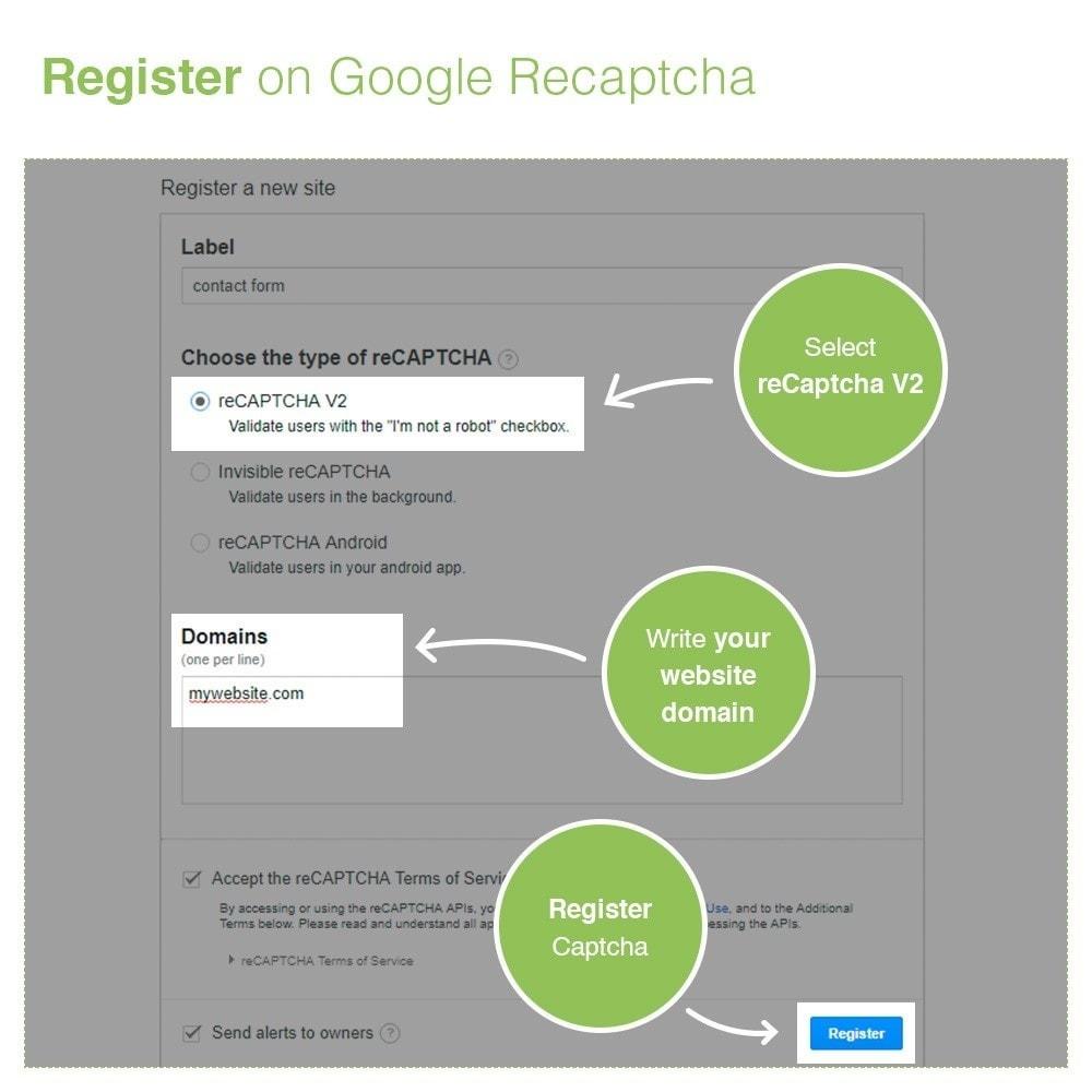 module - Sicherheit & Brechtigungen - Registrierungs und Kontaktformular für reCaptcha - 3