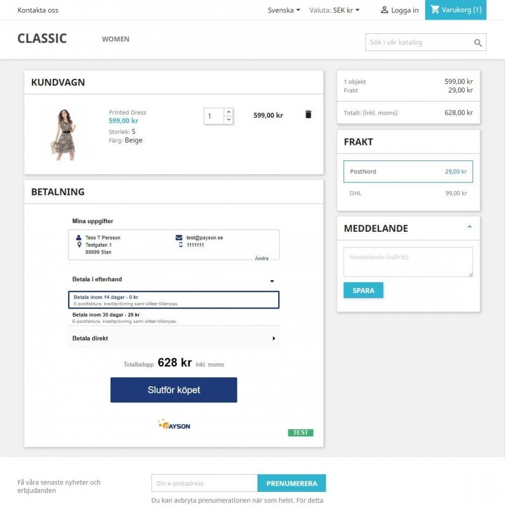 module - Процесс заказа - Payson Checkout 2.0 - 2