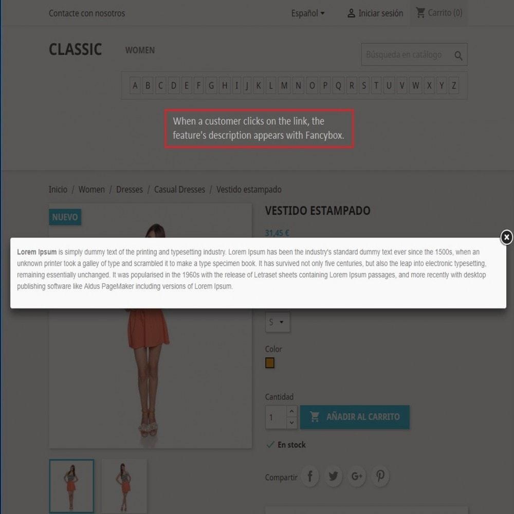 module - Altre informazioni & Product Tab - Feature Descriptions - 4