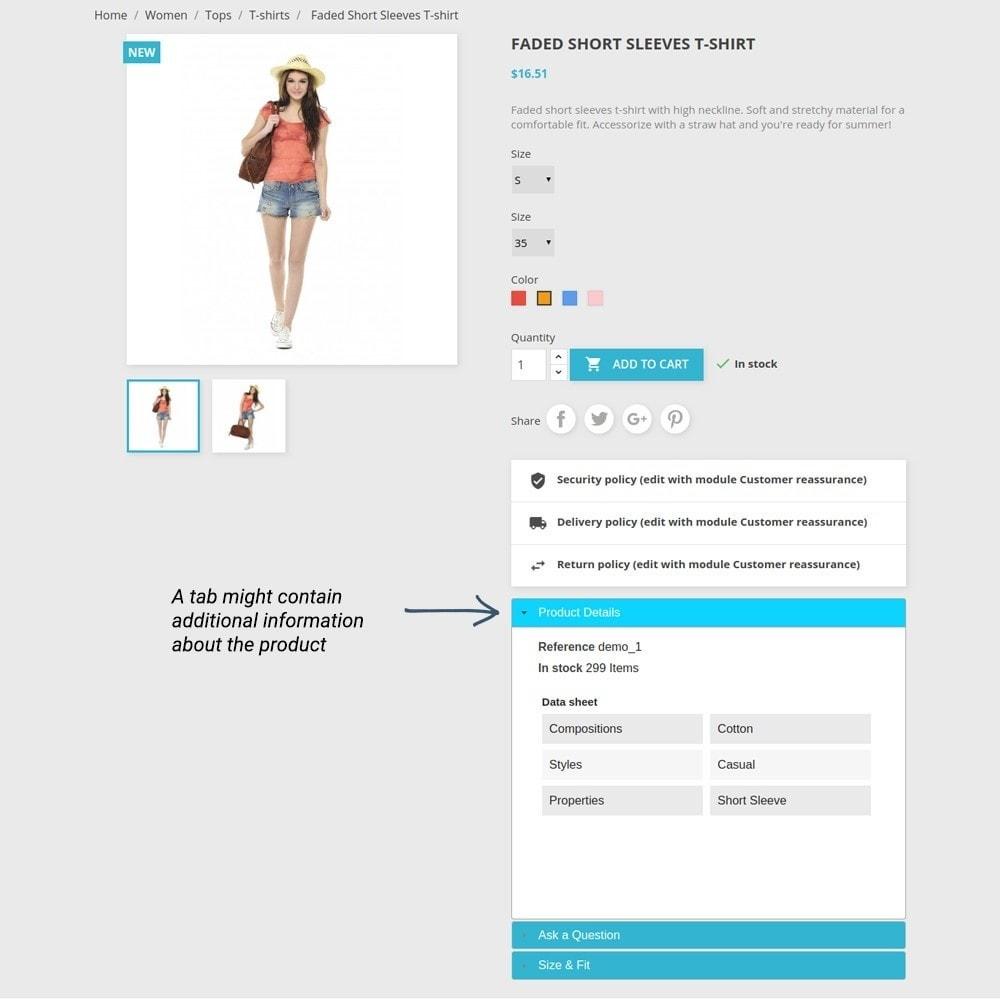 module - Informaciones adicionales y Pestañas - Product Tabs - 6