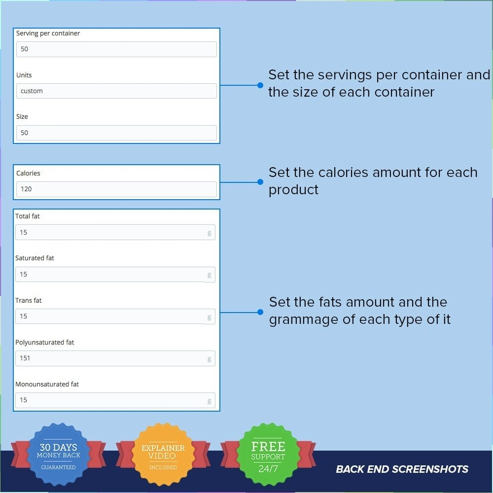 module - Altre informazioni & Product Tab - Product Nutritional Details Pro - 4