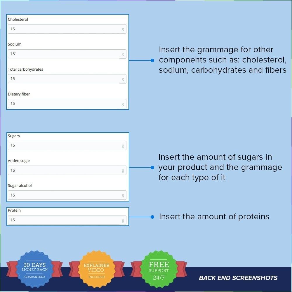 module - Information supplémentaire & Onglet produit - Product Nutritional Details Pro - 5