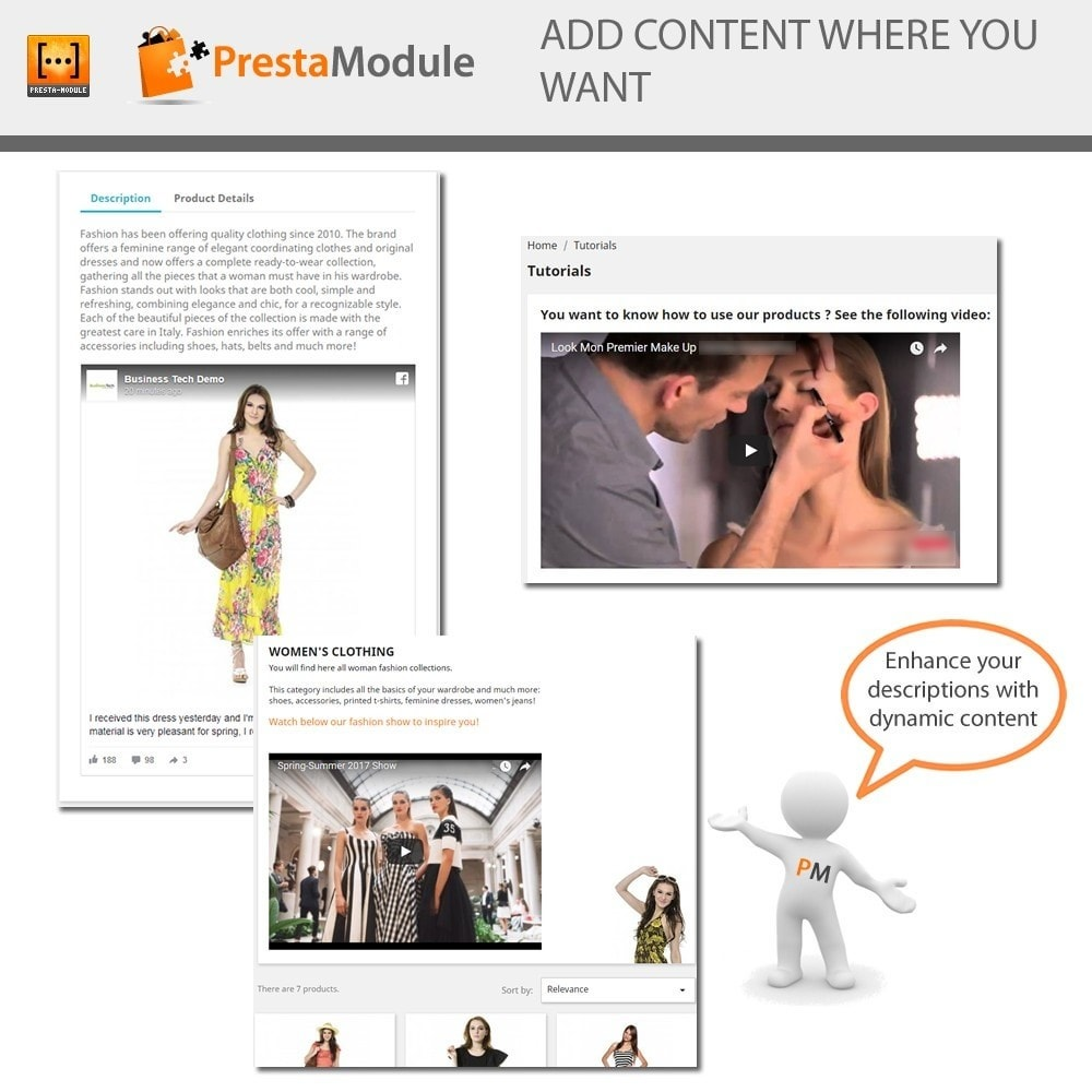 module - Page Customization - Advanced Shortcode - Add video, post, link, brand,... - 1