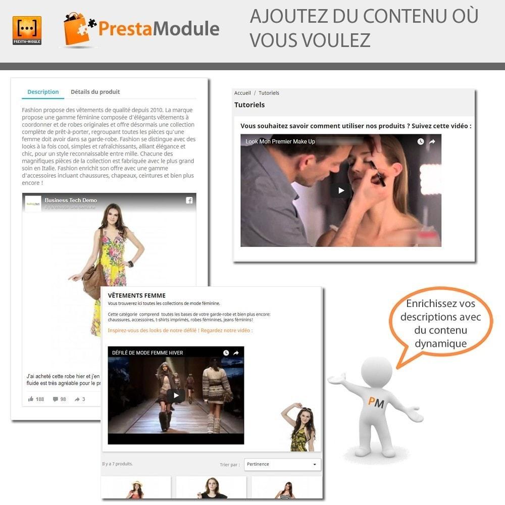 module - Personnalisation de Page - Advanced Shortcode - Ajout de vidéos, posts, liens,... - 1