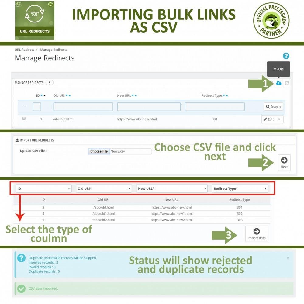URL Redirects - 301, 302, 303 redirects & 404 URLs Module