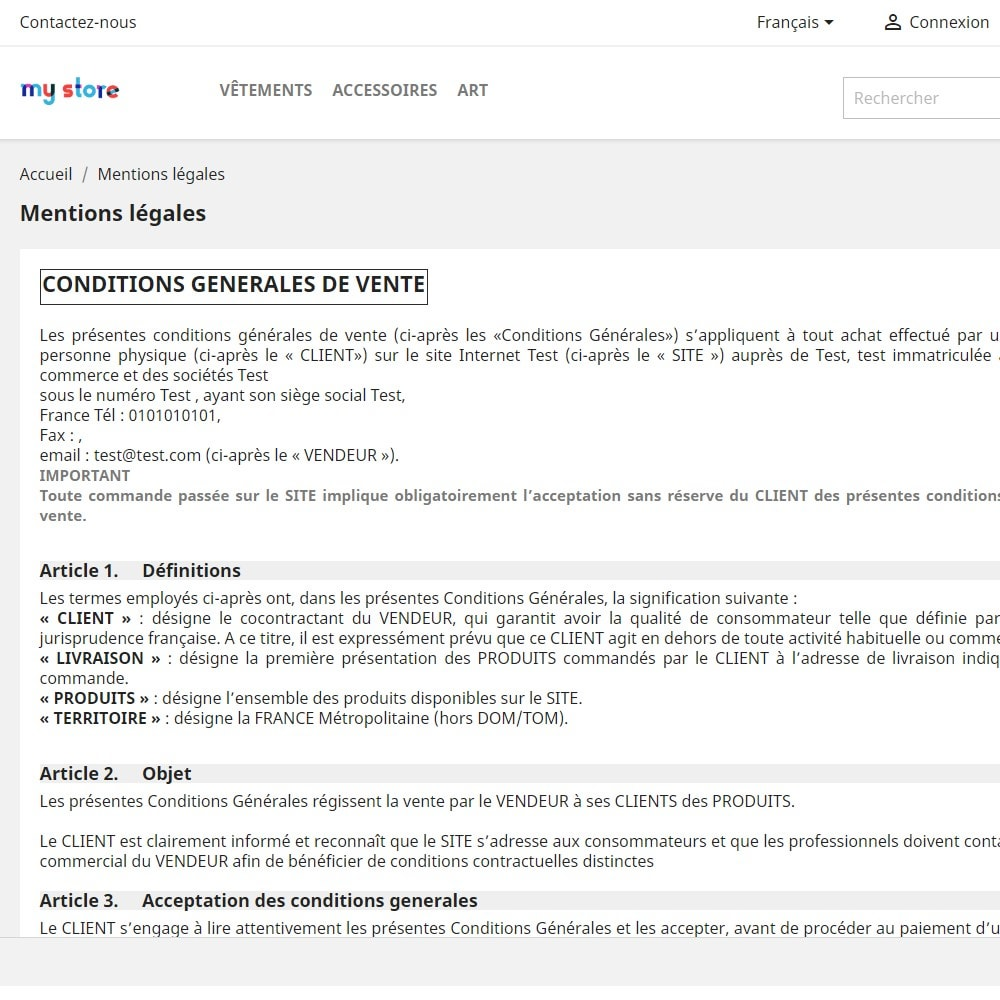 module - Marco Legal (Ley Europea) - Custom Terms and Condition for France - GDPR Compliant - 2