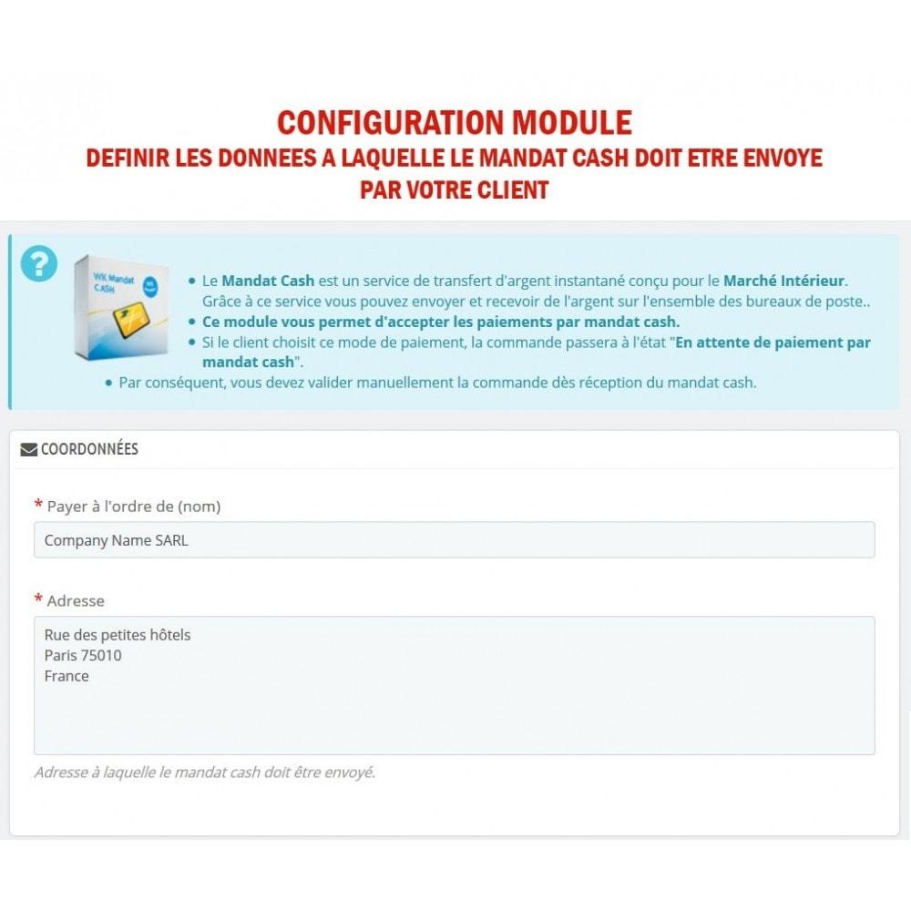 module - Autres moyens de paiement - WK Mandat Cash - 2