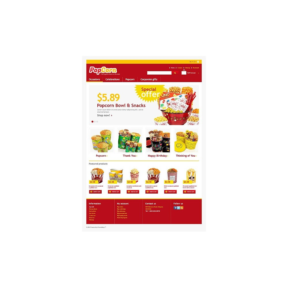 theme - Alimentation & Restauration - Responsive Pop Corn Store - 1