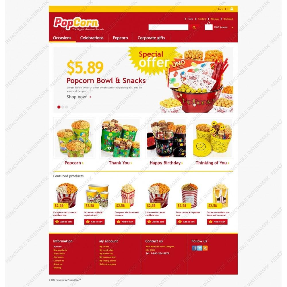 theme - Alimentation & Restauration - Responsive Pop Corn Store - 3