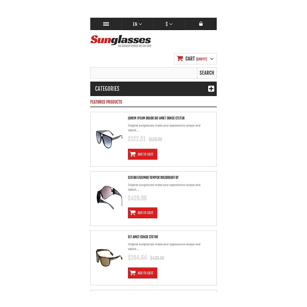 theme - Fashion & Shoes - Responsive Sunglasses Store - 8