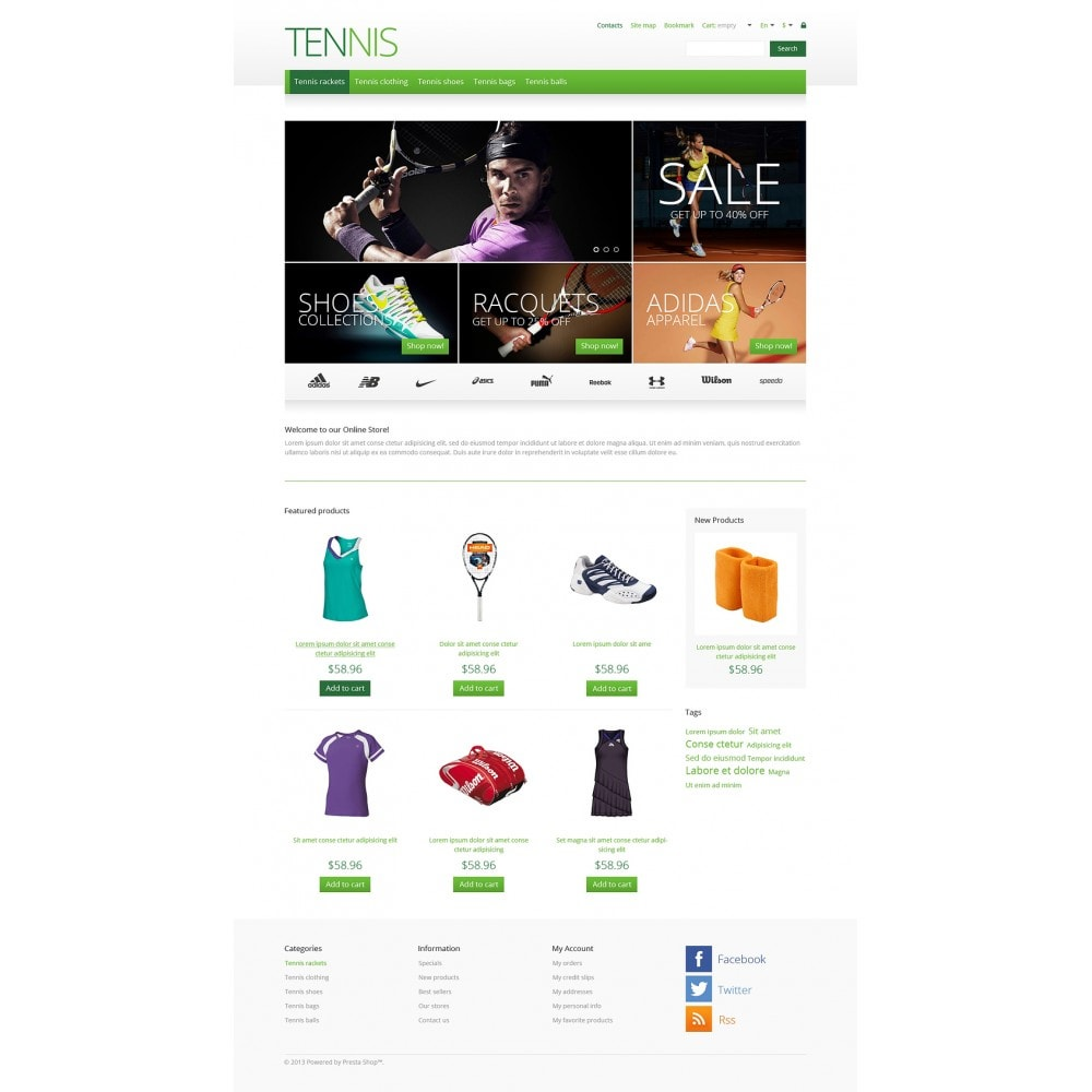 theme - Sports, Activities & Travel - Responsive Tennis Store - 2