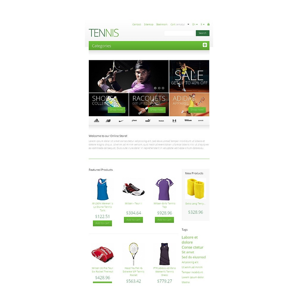 theme - Sports, Activities & Travel - Responsive Tennis Store - 7