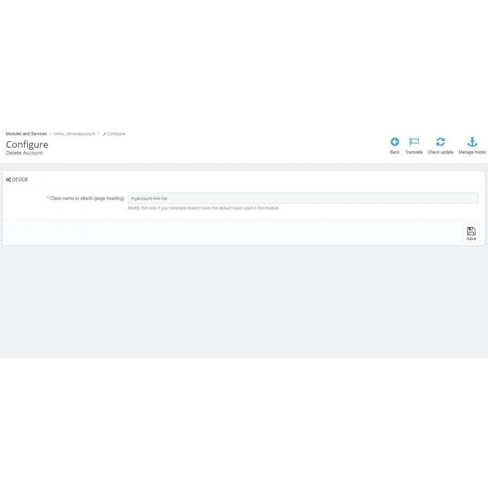 module - Rechtssicherheit - Delete Account (GDPR 2019 requirement) - 3