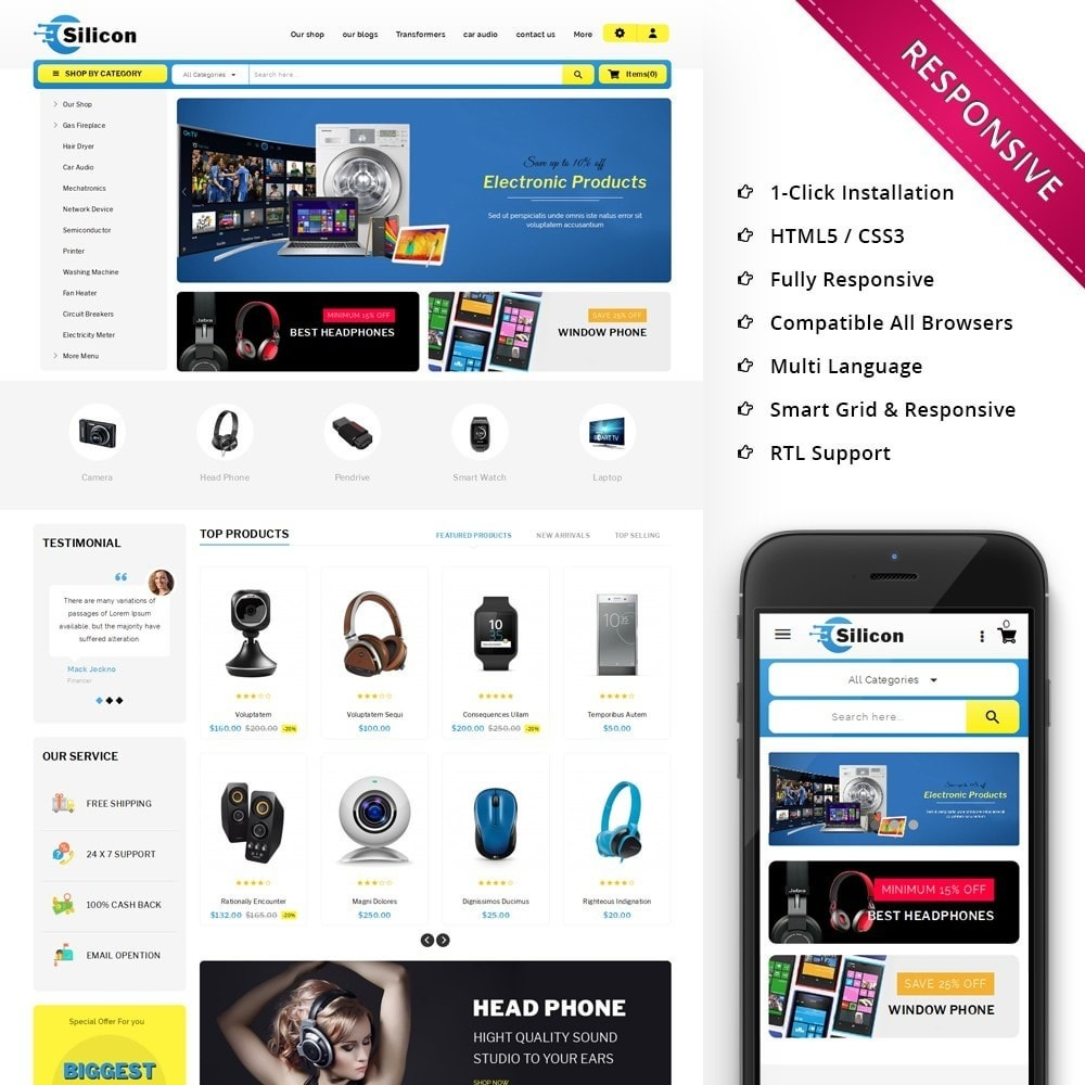 theme - Электроника и компьютеры - Silicon - The Electronic Store - 1