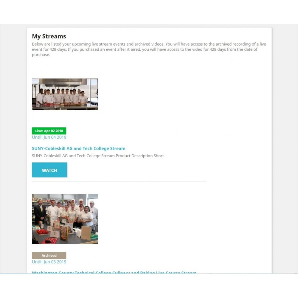 module - Altre informazioni & Product Tab - Live Video Stream Products Management - 2