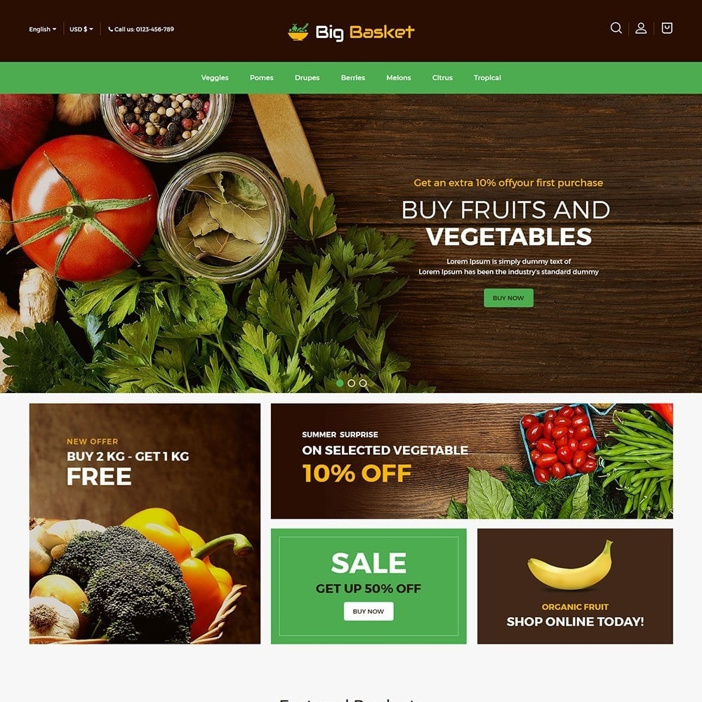 theme - Food & Restaurant - Bigbasket - Food Online Store - 2