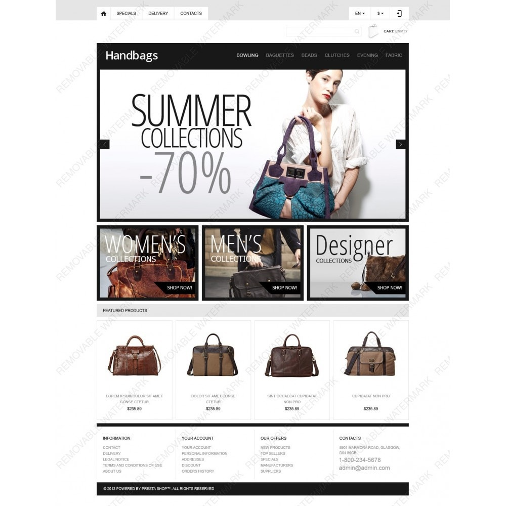 theme - Мода и обувь - Responsive Handbags Boutique - 3