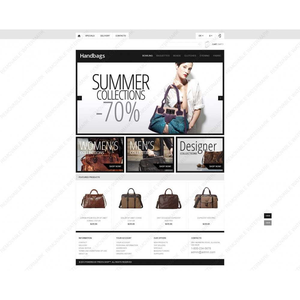 theme - Мода и обувь - Responsive Handbags Boutique - 6