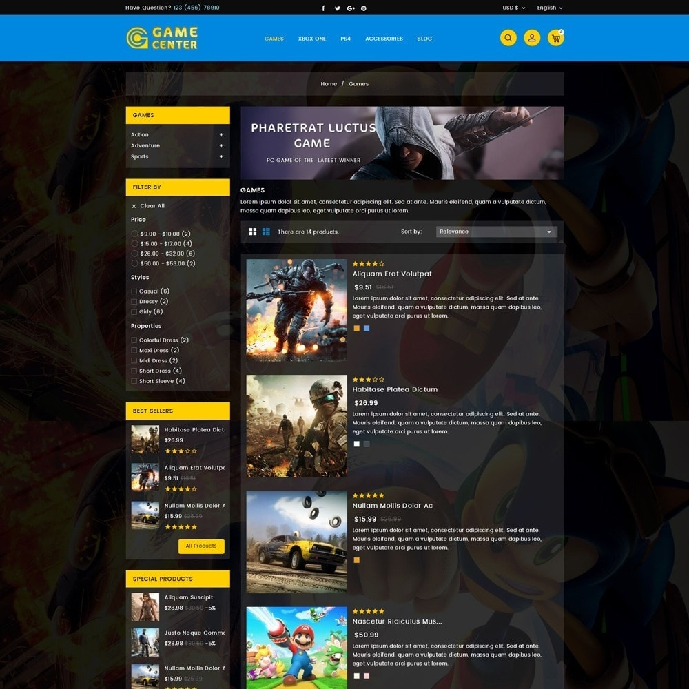 theme - Спорт и Путешествия - Game center Online Store - 4