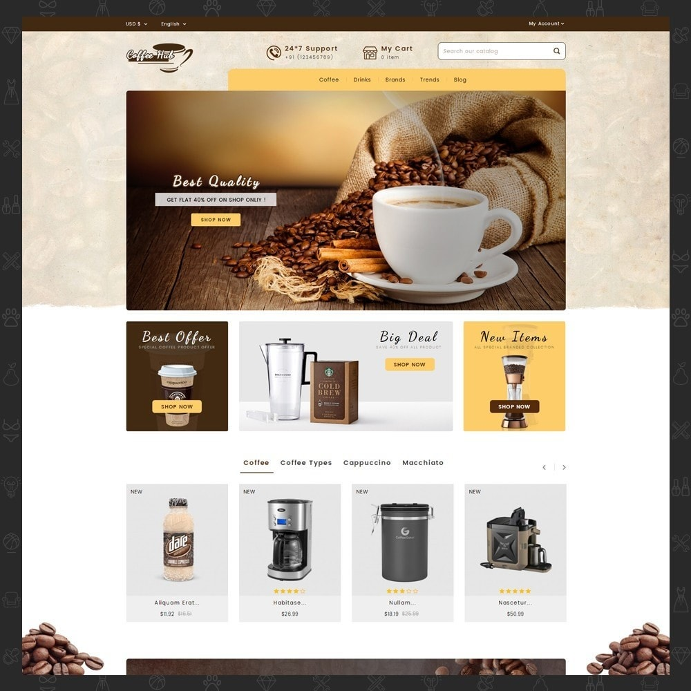 theme - Bebidas y Tabaco - Coffeehub Online Store - 2
