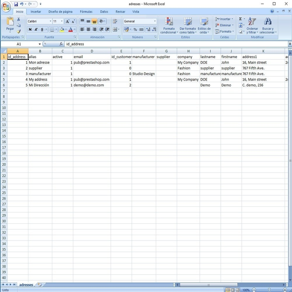 module - Marques & Fabricants - CSV Export Data Fields - 20