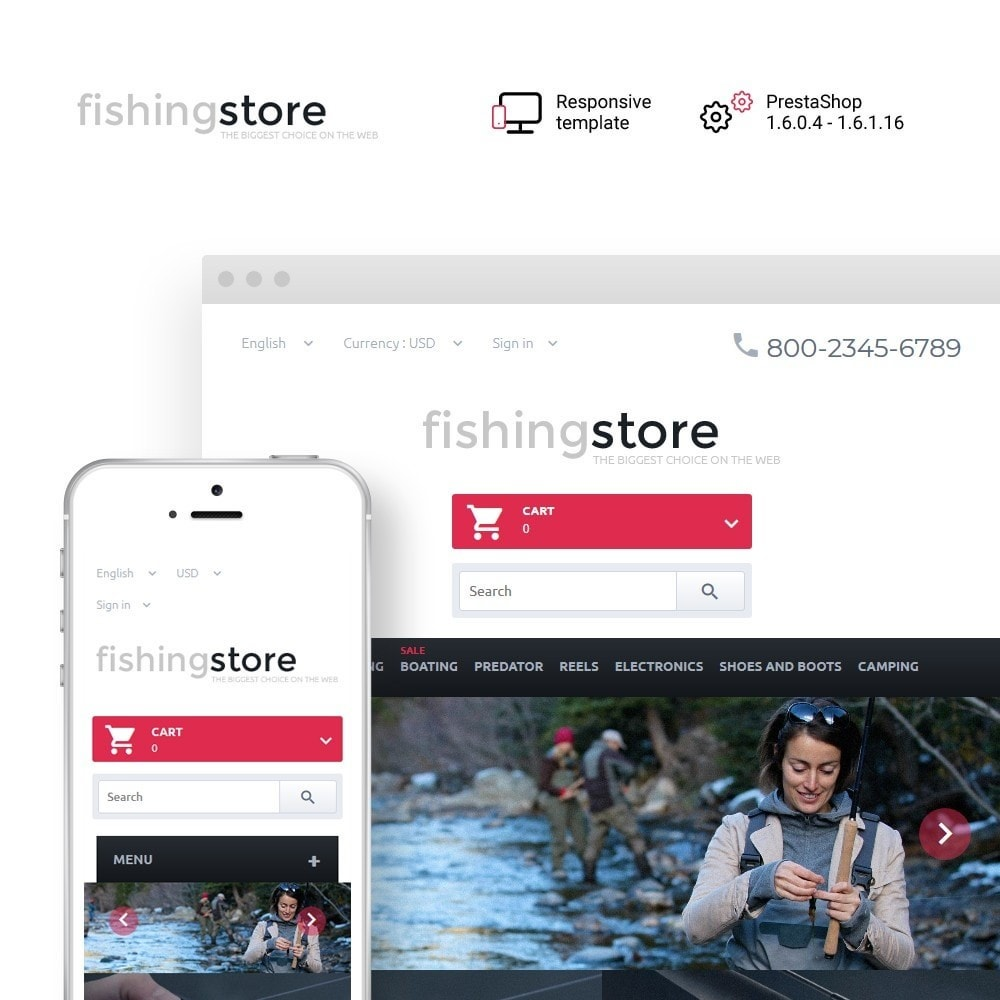theme - Sports, Activities & Travel - Fishing Store - The Biggest Choice On The Web - 1