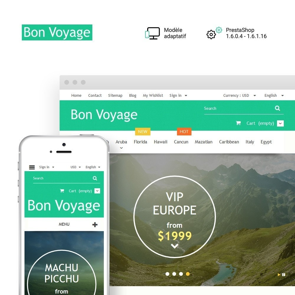 theme - Sport, Loisirs & Voyage - Bon Voyage - Travel Agency - 1