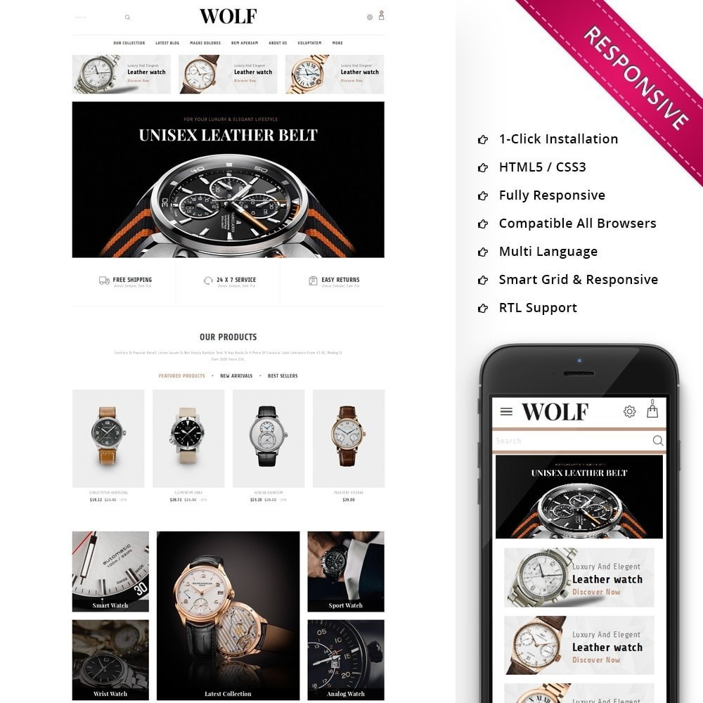 theme - Electronics & Computers - Wolf Watch Store - 1