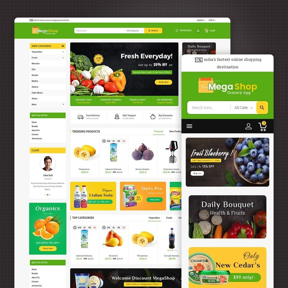 theme - Alimentation & Restauration - Mega Grocery Shop - 1