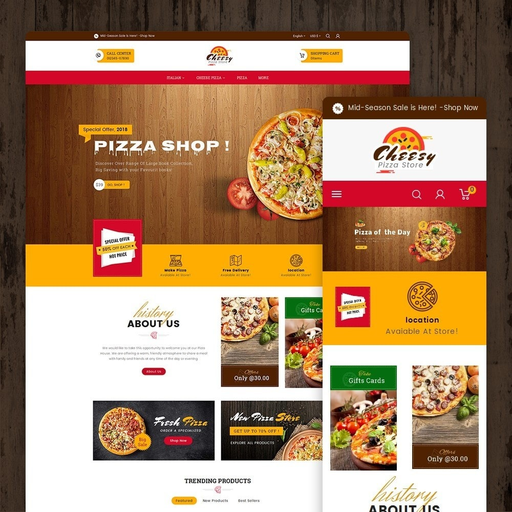 theme - Eten & Restaurant - Cheesy Pizza - Fast Food - 1