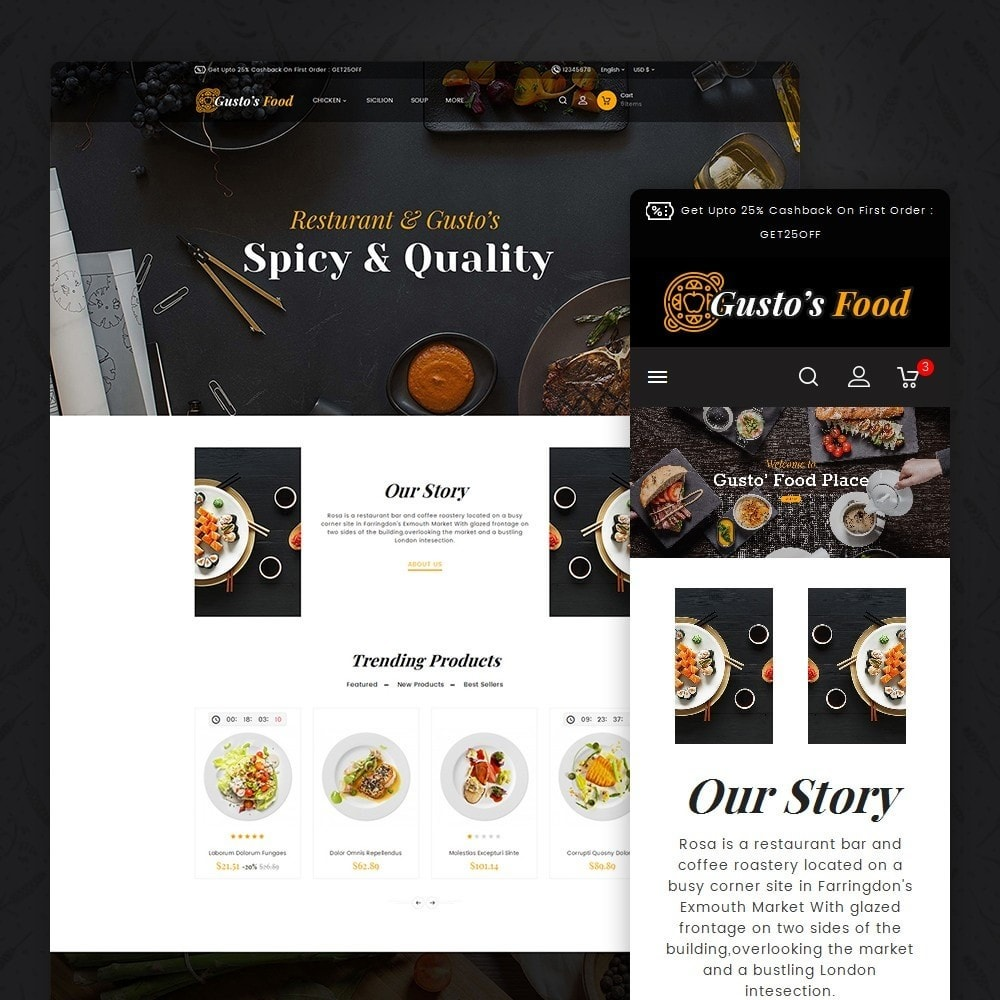 theme - Alimentation & Restauration - Gusto Restaurant Food - 1