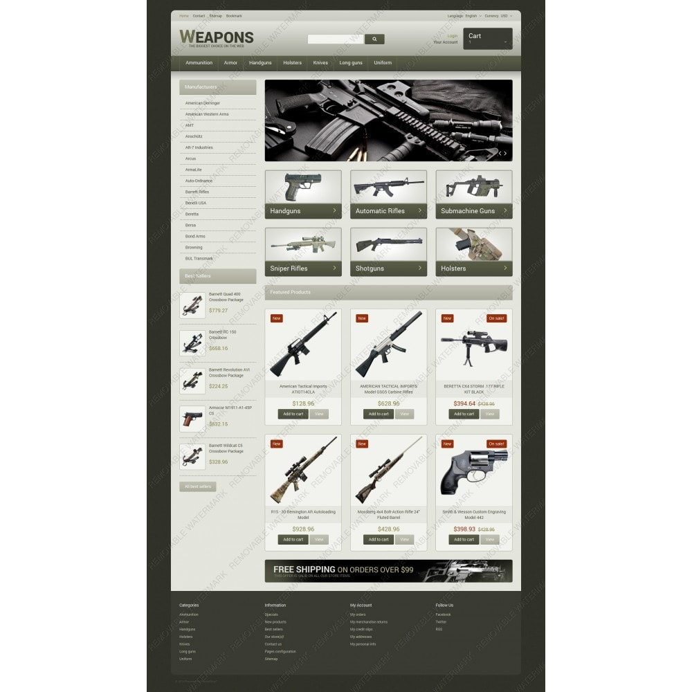 theme - Temas PrestaShop - Weapons of All Calibres - 3
