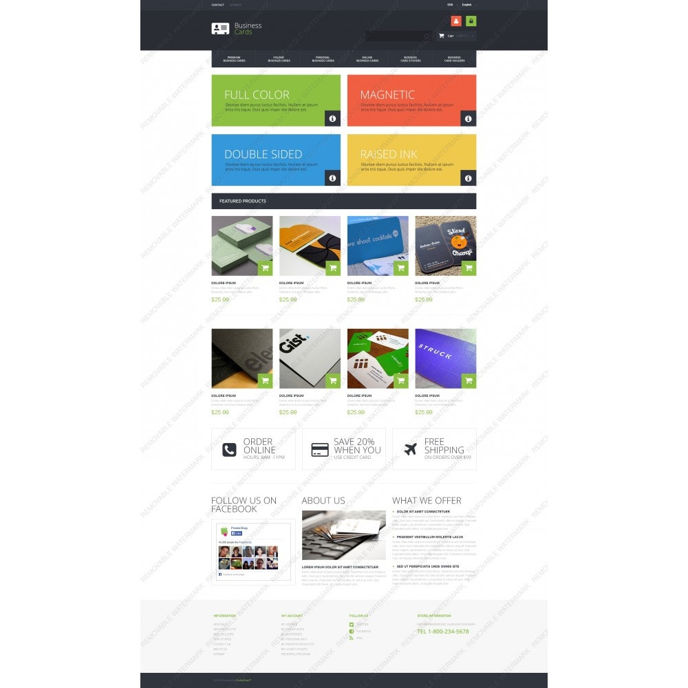 theme - PrestaShop Templates - Business Cards Store - 3