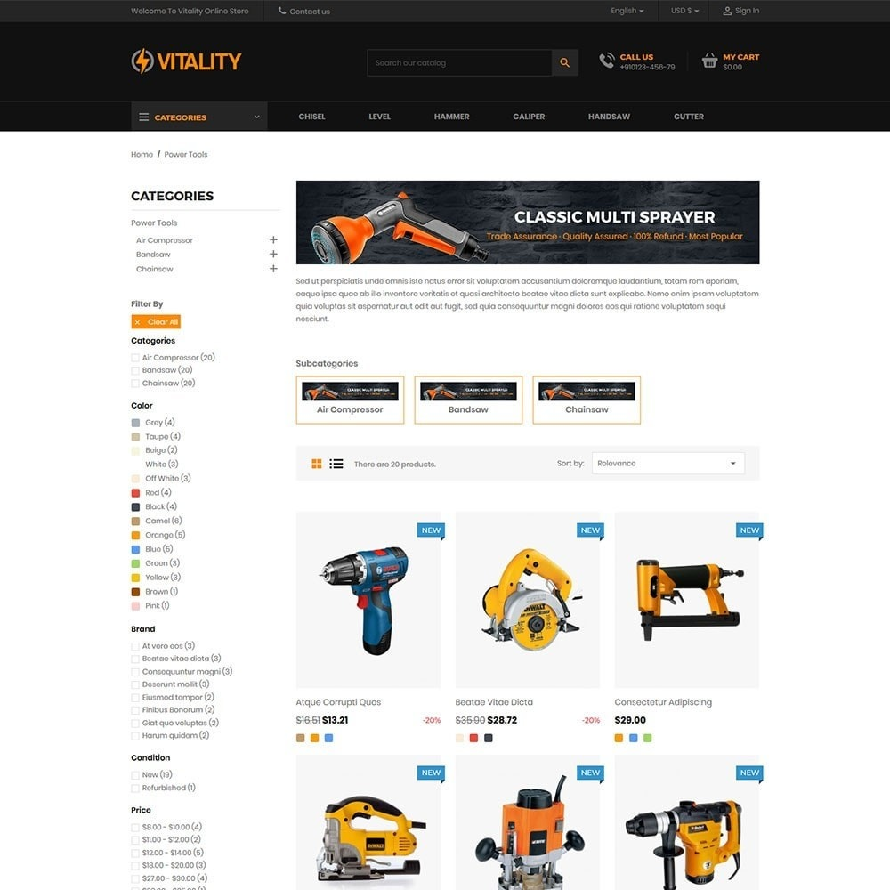 theme - Automotive & Cars - Vitality - Tools Online Store - 3