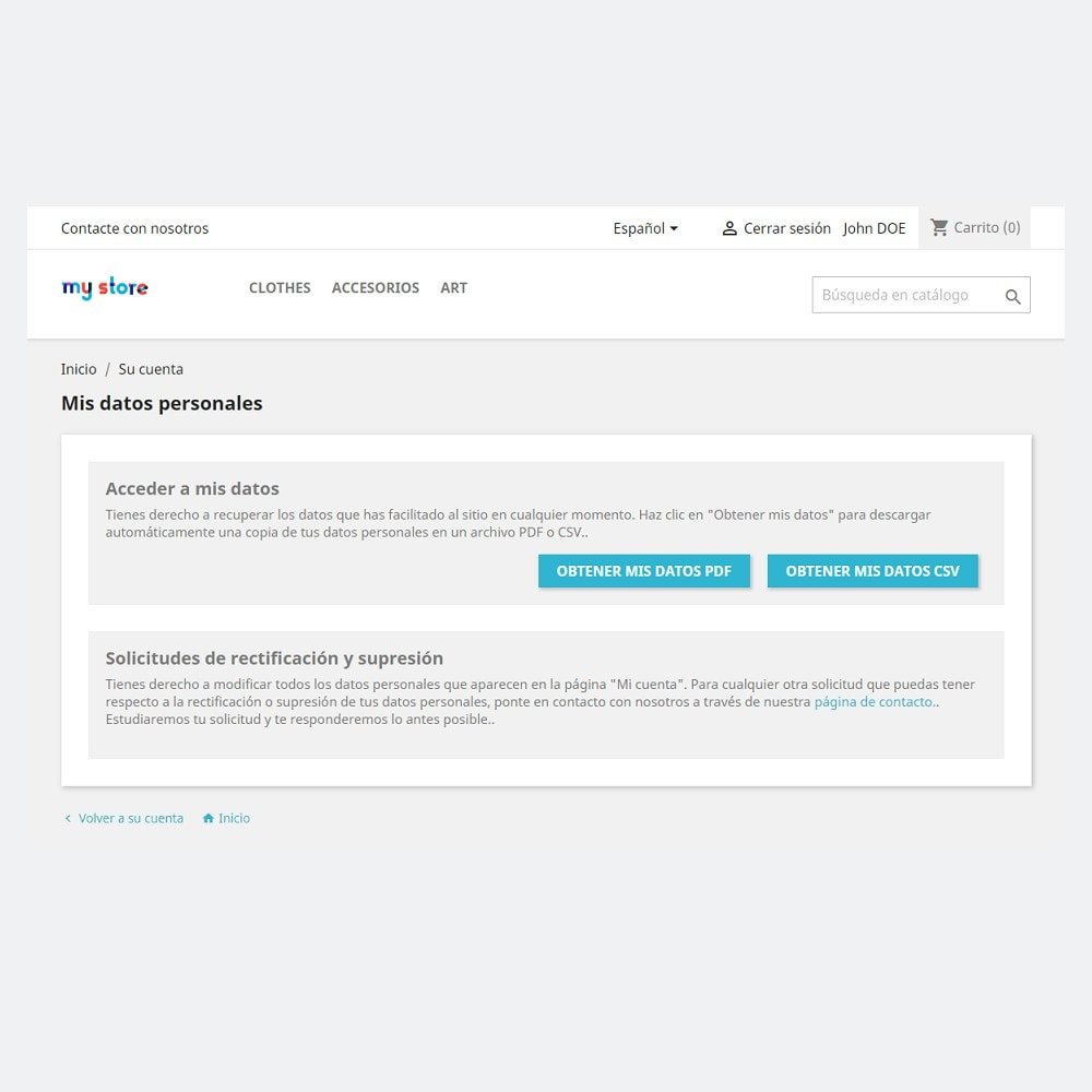 module - Marco Legal (Ley Europea) - Cumplimiento del RGPD by PrestaShop (1.5 & 1.6) - 2