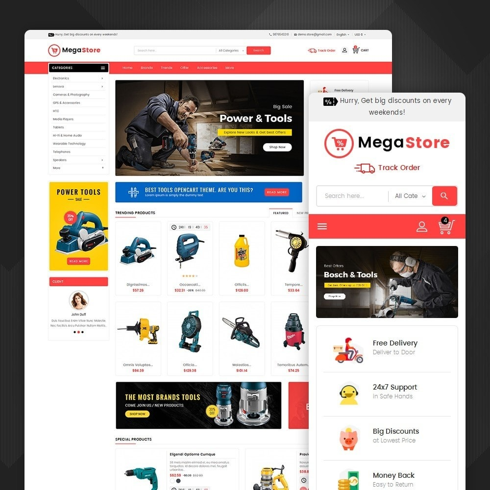 theme - Elettronica & High Tech - Mega Power Tools Store - 2