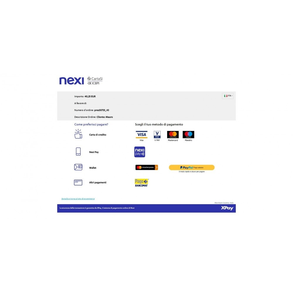 module - Paiement par Carte ou Wallet - CartaSi Nexi X-Pay gateway QuiPago Keyclient Advanced - 4