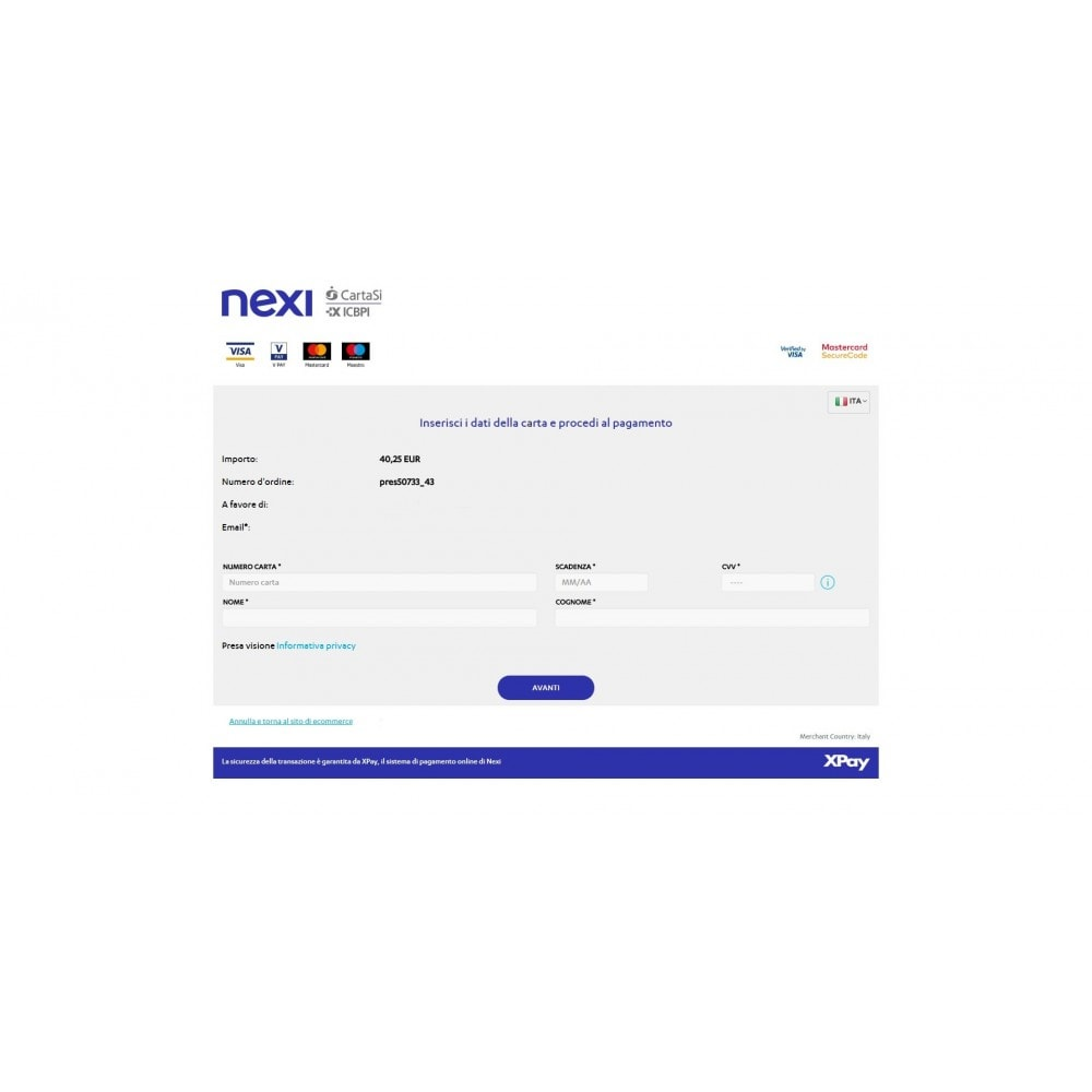 module - Paiement par Carte ou Wallet - CartaSi Nexi X-Pay gateway QuiPago Keyclient Advanced - 5