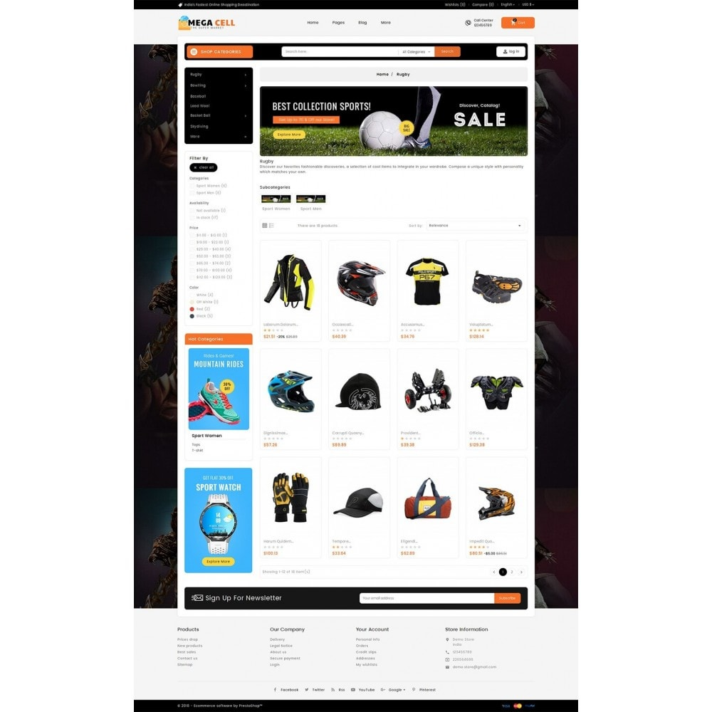theme - Deportes, Actividades y Viajes - Mega Cell Sports Equipment - 4