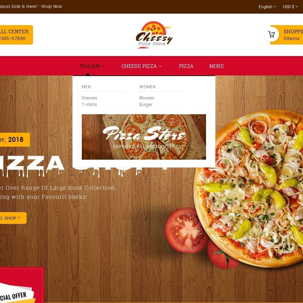 theme - Lebensmittel & Restaurants - Cheesy Pizza - Fast Food - 9