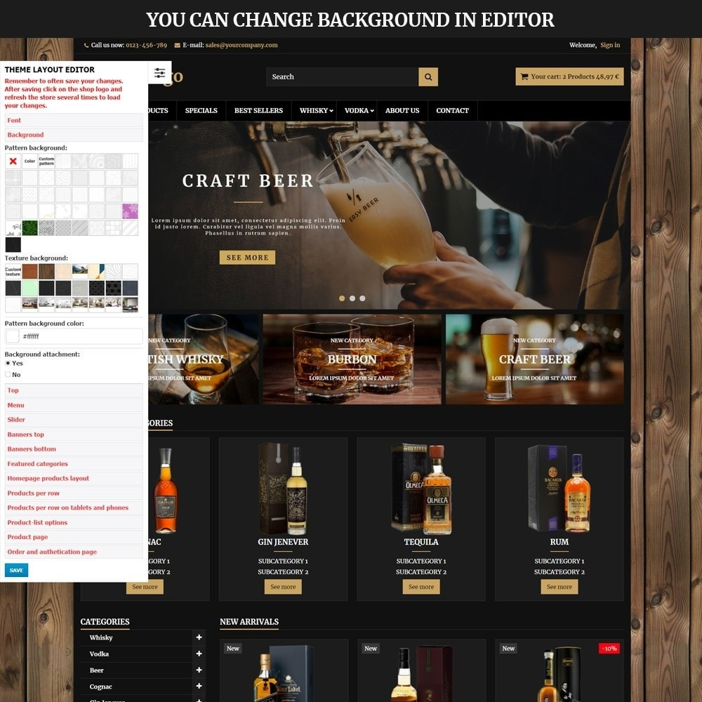 theme - Drink & Wine - AT18 Black - Drink, alcohol, liquor, whisky, beer store - 6