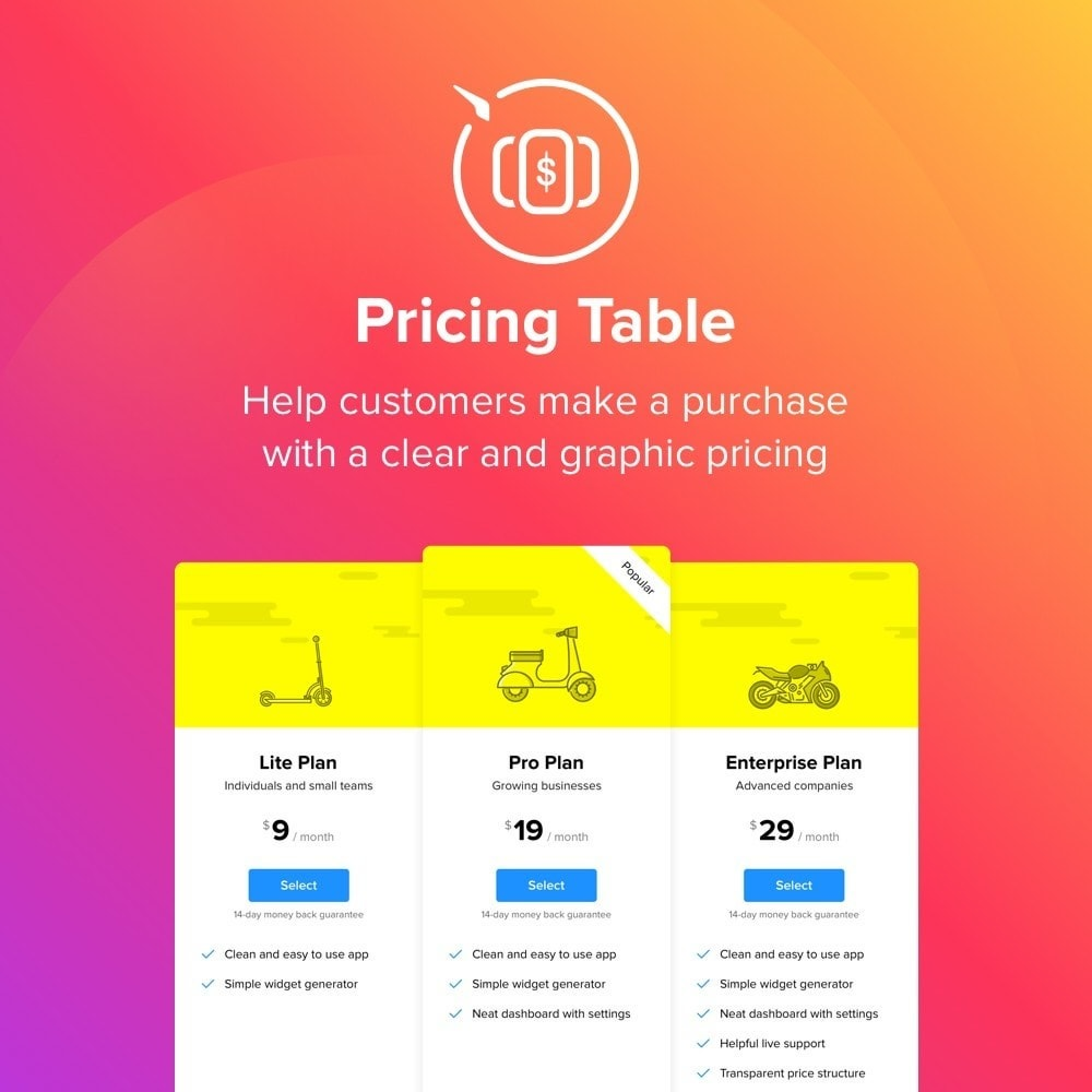 module - Personalização de página - Elfsight Pricing Table - 1