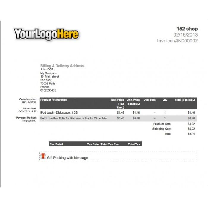module - Preparación y Envíos - Invoice Gift Message - 1