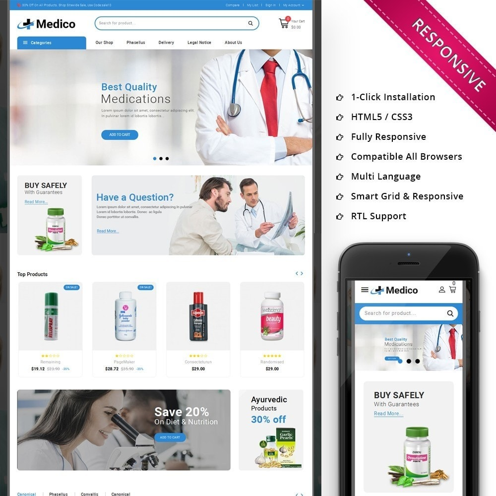 theme - Santé & Beauté - Medico - The Medical Store - 1
