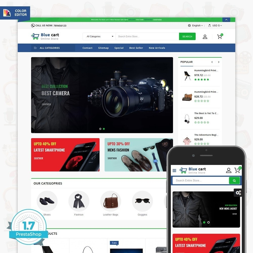 theme - Eletrônicos & High Tech - Blue Cart - The Online Store - 1