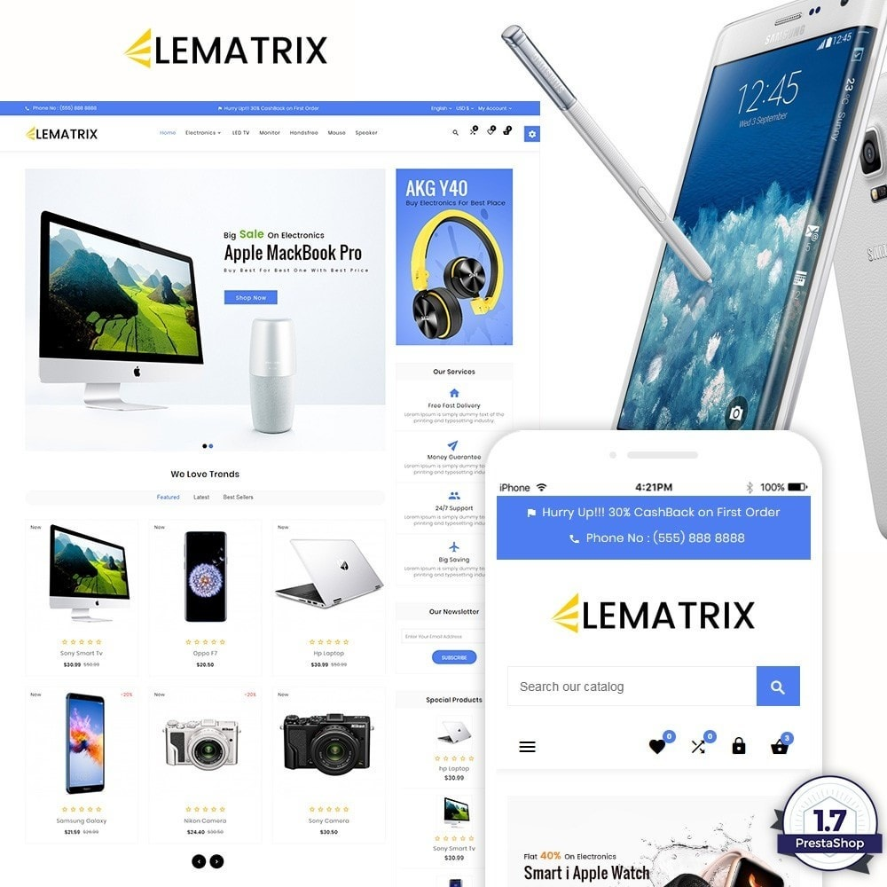 theme - Electrónica e High Tech - Ele Matrix – Electronic and Accessories Store - 1