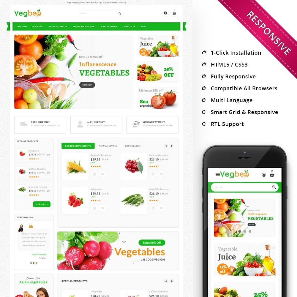 theme - Alimentation & Restauration - Vegbee - The Grocery Store - 1