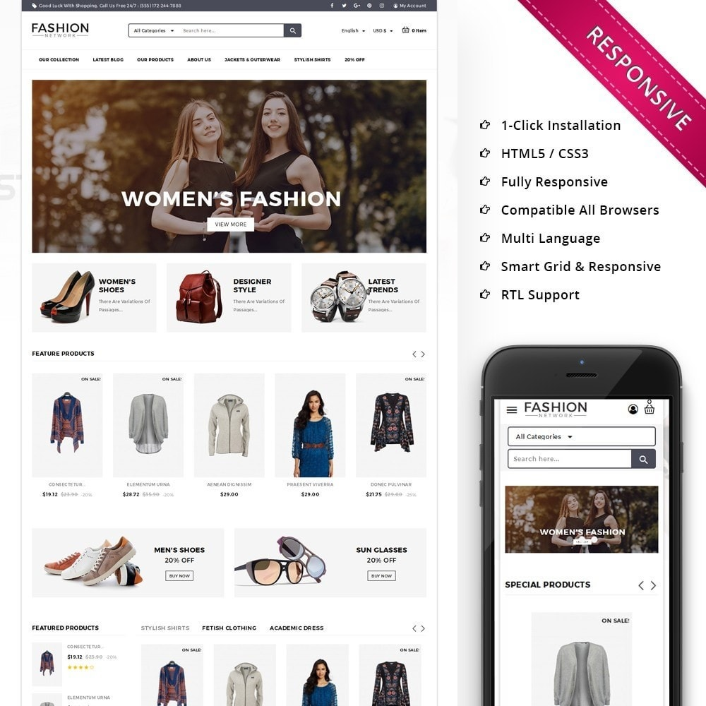 theme - Мода и обувь - Fashion Network - The Fashion Shop - 1