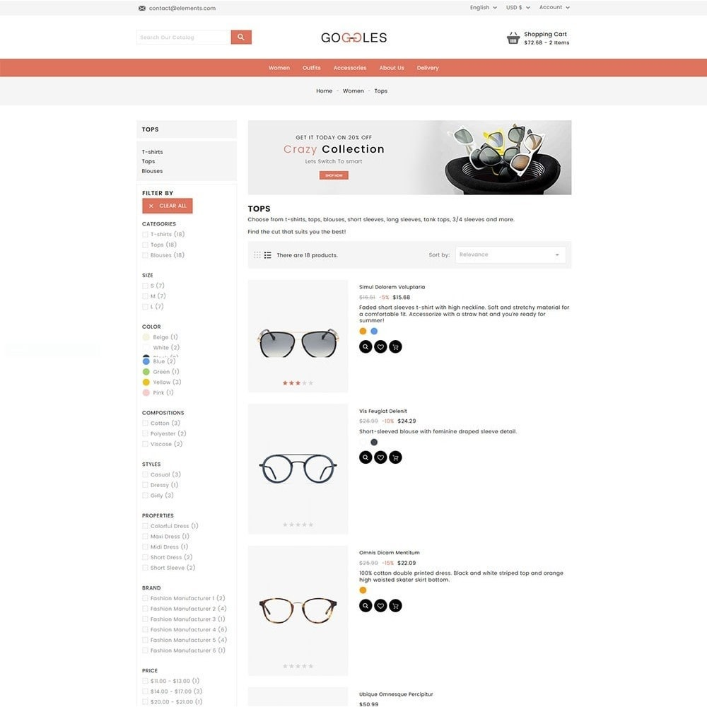 theme - Mode & Schoenen - Goggles Online Store - 6
