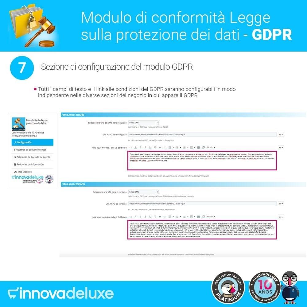 module - Legale (Legge Europea) - Codice in materia di Protezione dei Dati Personali RGPD - 13